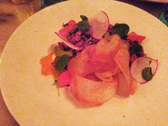 Searsucker: Beef Tartare: (pickled radish, beer mustard,yolk)