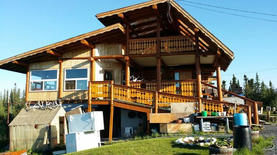 The Arctic Chalet Resort: Back balcony.