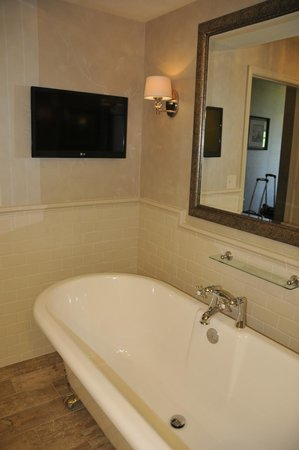AmishView Inn & Suites: TV over claw foot bath tub