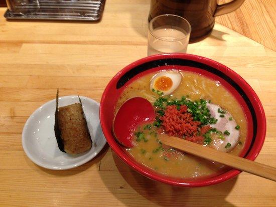 Ebisoba Ichigen Sohonten: えびみそ・ほどほど・太麺+えびおにぎり