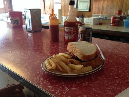 Madison, IL: Thankfully, it's trapped in time! The cod sandwich on cream bread.