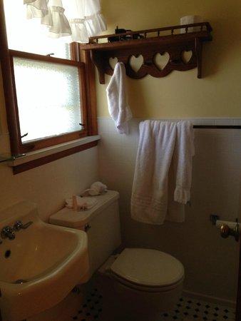 Ludington Blue Spruce Inn: racks to hang towels.
