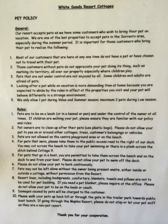 White Sands Resort Cottages: Rules for the pets!