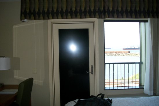 Hampton Inn & Suites Astoria: Door is blacked out with solid black adhesive -- no view