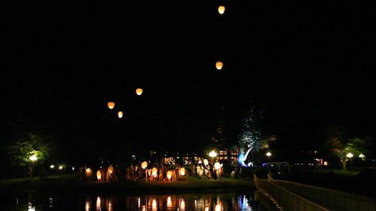 Ridges Resort & Marina: Wish lanterns taken from the pier.