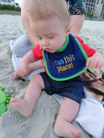 Roxanne Towers: My grandson plays in the sand for the first time