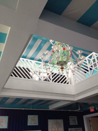 Cupola Bar: Handmade glass chandelier