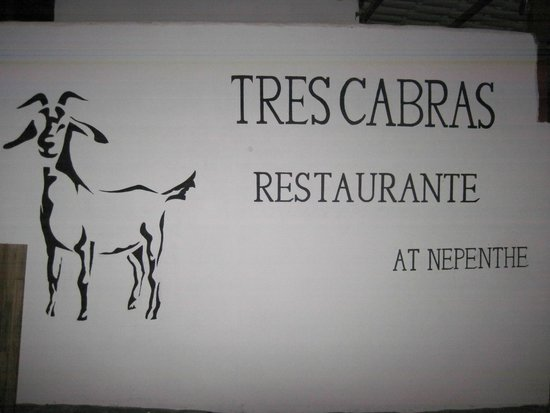 Tres Cabras Restaurante at Nepenthe: The sign of thing to come!