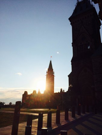Parliament Hill and Buildings: Front view at sunset