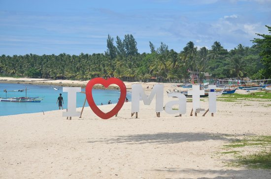 Dahican Beach: The famous I <3 Mati landmark