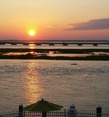 Comfort Suites Chincoteague: Sunset from Balcony with Dolphins
