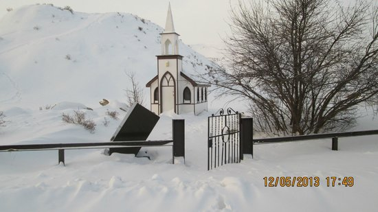 Drumheller's Little Church: Littlest Church Drumheller, AB., on a very cold Dec. 2013 Winter day.