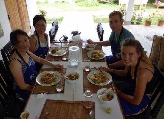 Thai Secret Cooking School : Enjoying our food!