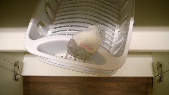 Extended Stay America - Orange County - Katella Ave.: Dirty sock in the dish rack...no dishes in the room
