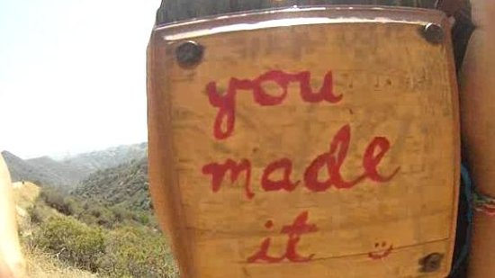 """Hollywood Sign: The """"You Made It Sign"""" 1.2 mile marker"""