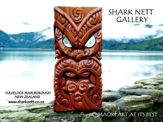"Havelock, New Zealand: Maori Carving - Four Faces ""Wheke Wha"""