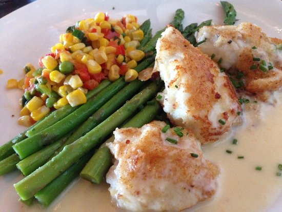 Kincaid's: Halibut cheeks with asparagus and corn