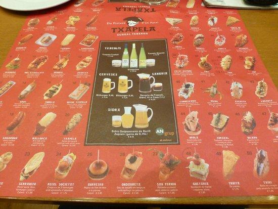 Txapela : Fun menu