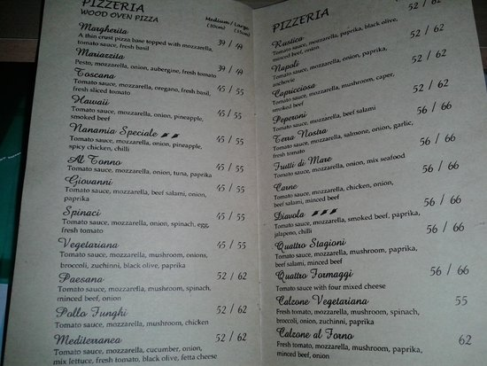 Menu Pizza Picture Of Nanamia Pizzeria Mozes Yogyakarta Region Tripadvisor