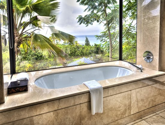 Raffles Seychelles: bathtub in our villa with a view
