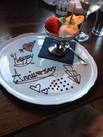 Yann's: What a lovely touch for our anniversary meal - thank you!