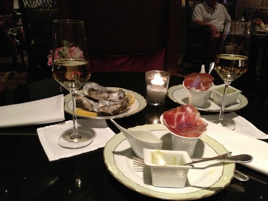 The St. Regis Florence: champagne ritual includes oysters and yummy snacks
