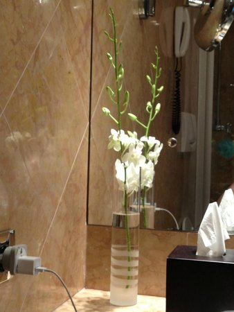Hotel Londra Palace : orchids in our hotel room bathroom