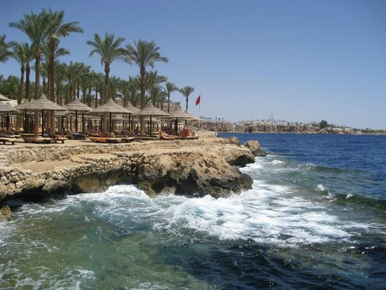 The Grand Hotel Sharm El Sheikh: The beach Area  sandy overlooking 50 meter drop in sea  lots of colourful fish