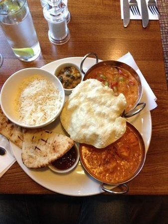 Premier Inn London Heathrow Airport Terminal 5 Hotel: Main Course - Asian Feast. Red Thai and Chicken Makhani, nann bread, rice, poppadom with natural