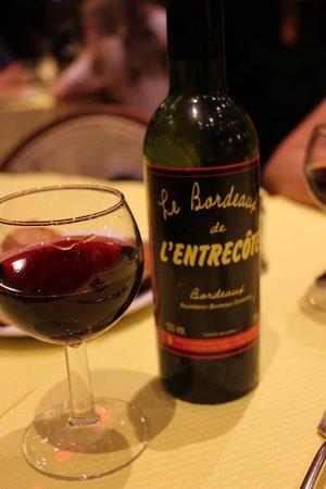 L'Entrecôte: house red wine