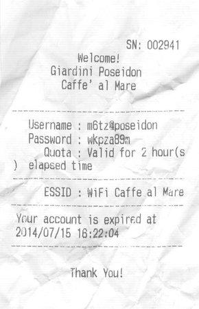 Giardini Poseidon Terme: L'inutile chiave di accesso al Wi-Fi, già fuori dal bar il segnale è inesistente