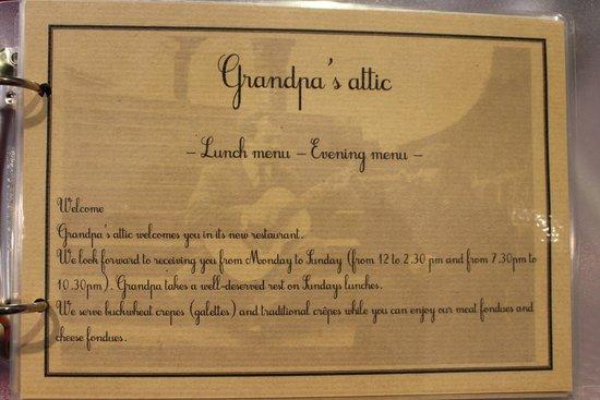 Le Grenier de Pepe: The menu