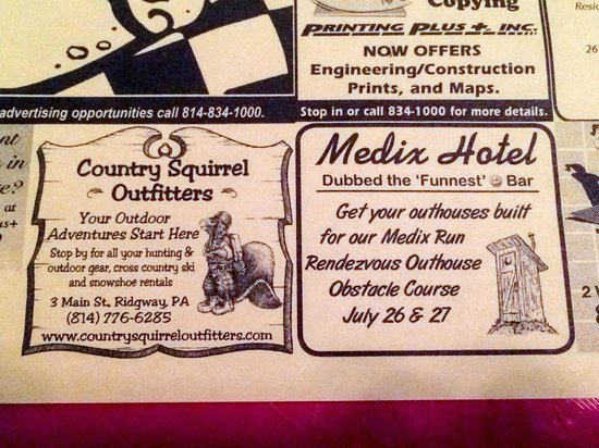 Weedville, Pensilvania: Interesting Placemat Ads - Backwoods Entertainment