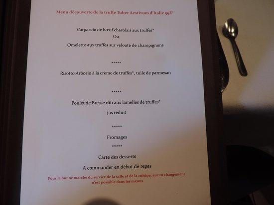 Le Moulin de Bourgchâteau : le menu
