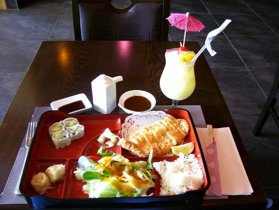 lunch bento box with chicken katsu fried cutlet and pina colada beverage picture of nishiki. Black Bedroom Furniture Sets. Home Design Ideas