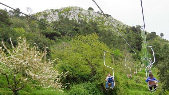 Mount Solaro: Subida de teleférico.
