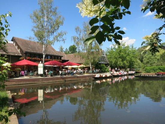 Kahnfahrten im Spreewald: Stopp an Gaststätte in Lehde