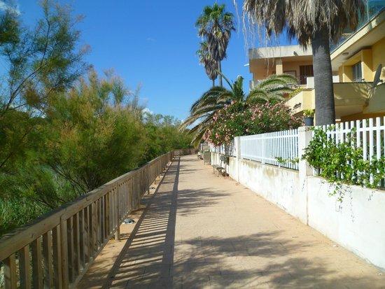 Exagon Park : le chemin qui va de l'hotel à la plage