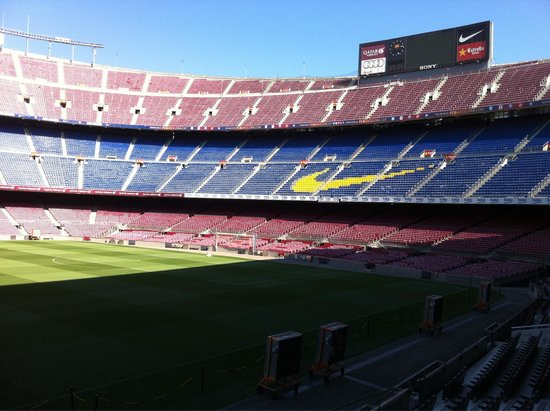 Camp Nou: A shot of the stadium from the lounge