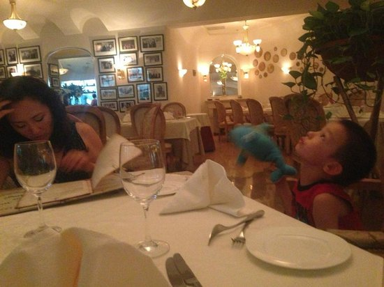 Riviera Restaurant: My son was so bored with his dolphin jumping off the table.