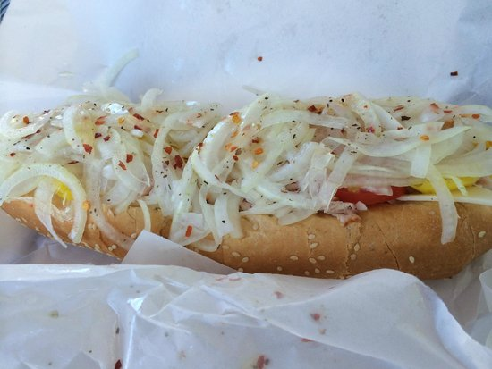 "Mac's Market & The Gridiron : Turkey Hoagie, ""note the amount of onions"""