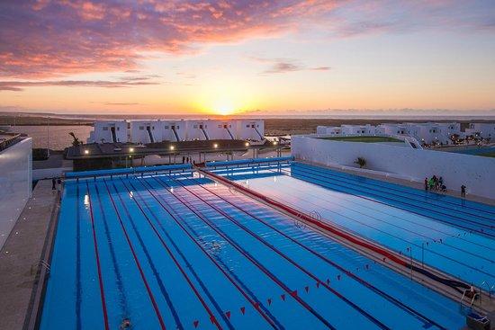 Club La Santa: Two 50m south pools at sunset