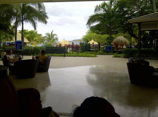 Hilton Curacao: Áreas del jardín, foto tomada desde el Lobby