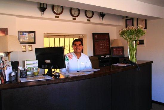 Tierra Viva Cusco Plaza: Jorge at the Front desk of Tierra Viva ..Amazing Jorge ..We will miss you