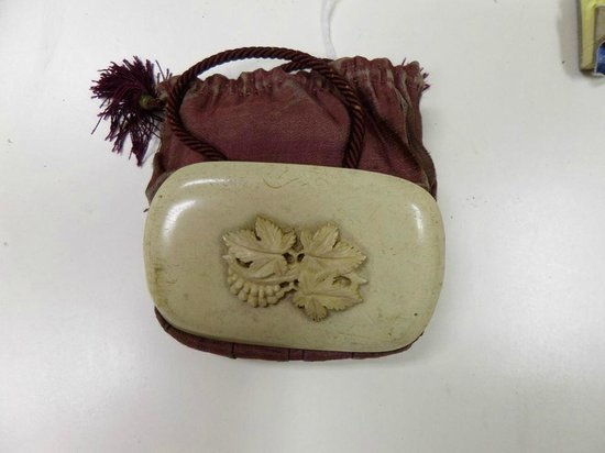 James Madison Museum: Ivory/Velvet Reticule. Circa 1805.