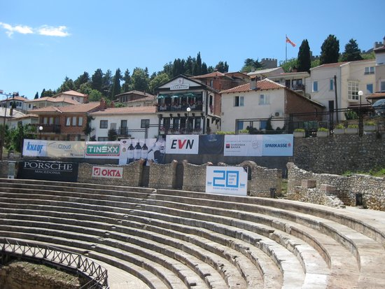 Ancient Theatre of Ohrid : The Theatre and the good restaurant Gladiator