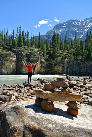 Athabasca Falls : A rocky shore where the falls flows into the river.