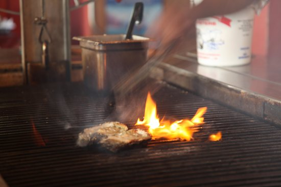 Boss Oyster: Our Oysters cooking on THE WOOD SHOW GRILL