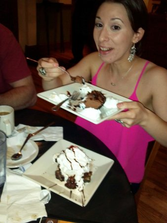 The Perk: Sampling desserts - choc mousse cake and loaded brownie