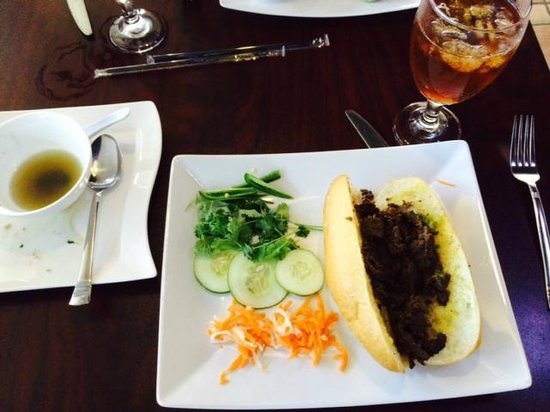 VietRiver : Lunch special BBQ sandwich and pho